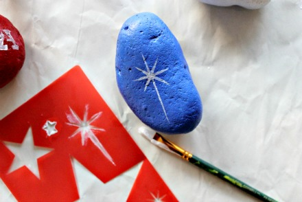 4th July Rock painting