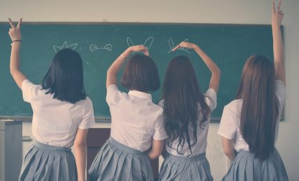 School Girls Hands up