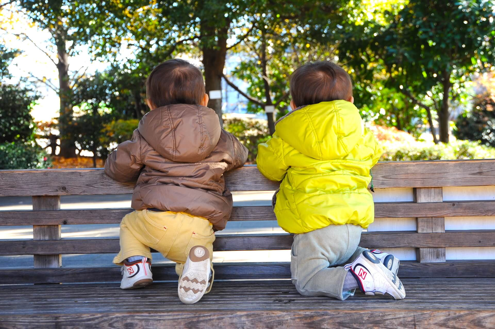 Twins Looking Bench